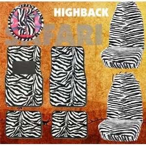 Safari White Zebra Tiger Print Car Floor Mats, High Back Seat Covers