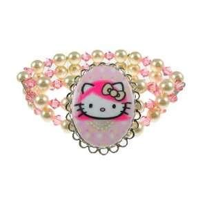 Tarina Tarantino Hello Kitty Pink Head Classic 3 Row Pearl