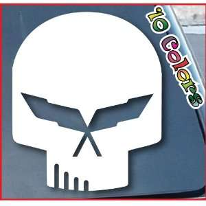 Corvette Jake Skull Car Window Vinyl Decal Sticker 6 Tall