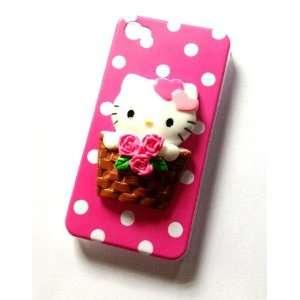 Hello Kitty Polka Dot Cute Basket Ride 3d Kawaii Iphone 4