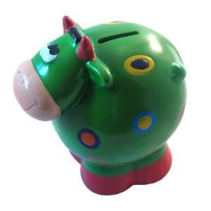 Ceramic Cow Coin and Money Bank, Green