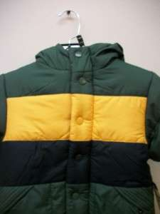 OshKosh Boys Green Hooded Coat Size 3T Retail $60