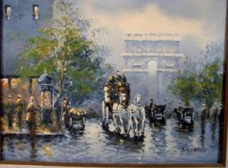 Gaston 1920s Paris Street Scene Oil Painting Signed On Canvas