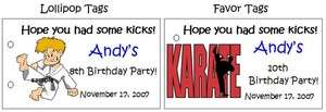 JUDO KARATE BIRTHDAY Party Lollipop suckers Favors Tags