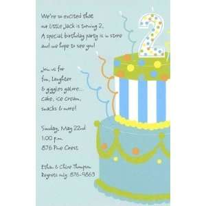 Cake, Custom Personalized Boy Birthday Invitation, by Inviting Company