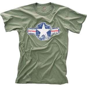 Olive Drab   Military Vintage T Shirt w/Army Air Corp Star Emblem