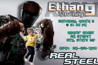 Real Steel (movie) BIRTHDAY INVITATION FASTSERVICE CARD TICKETS