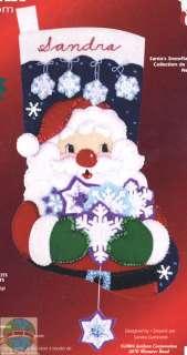Felt Embroidery Kit Santas Snowflakes Xmas Stocking