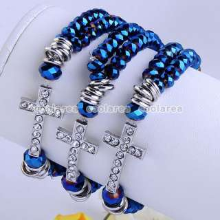 12/Colors 2Rows Crystal Glass Beads Woven Cross Stretchy Bracelet