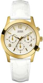 Guess U10619L1 Chronograph White Leather Strap Ladies Watch New
