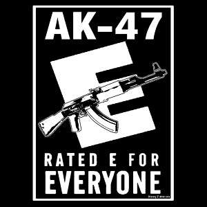 Ak 47 Russian Assault Rifle Rated E Funny Pro Gun Tee