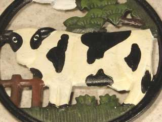 NEW HAND PAINTED CAST IRON COW TRIVET POT/PLATE/COUNTRY