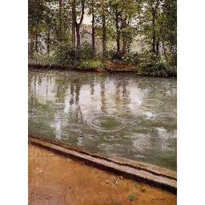 Caillebotte   24 x 34 inches   The Yerres, Rain aka Riverbank in t
