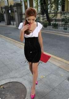 Sexy Women Deep V Neck Lotus Backless Party Mini Dress