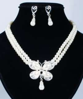 1set alloy rhinestone imitate pearl necklace earring set for wedding