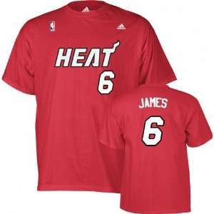 Lebron James Miami Heat Adidas Red NBA Player T Shirt
