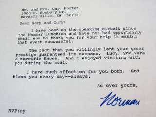Lucille Ball Gary Morton Personal signed letter from Norman Vincent