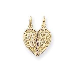 14k Gold Best Sister Break apart Charm Jewelry