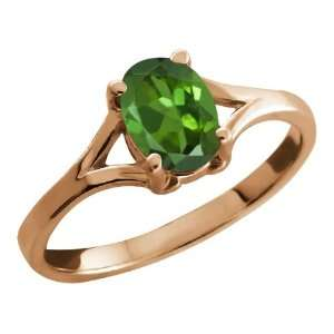 0.85 Ct Oval Green Tourmaline Rose Gold Plated Silver Ring