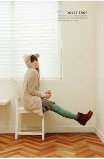 Lady Womens Cute Rabbit Ears Fleece Long sleeved Hoodie Long Coat 1250
