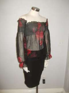 Betsey Johnson NEW YORK  Womens Black Red Rose Off Two