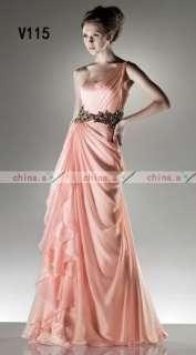 2012 One shoulder Pink Prom Gown Evening Dress Bridal Wedding Dress