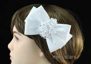 White Satin Ribbon Bridal Hair Accessory w/ comb T1395