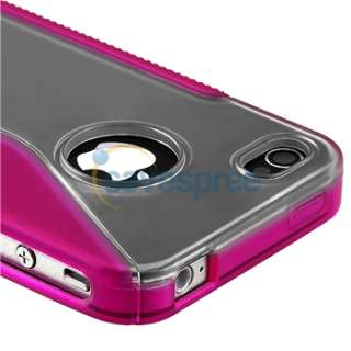 Clear Pink S Shape Rubber TPU Gel CASE Cover+PRIVACY FILTER for iPhone