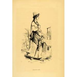 1843 Engraving Costume Arab Woman Girl Folk Dress Hat