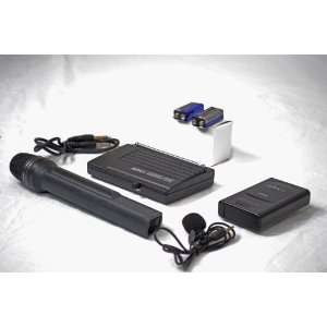 Dual Channel VHF Lapel Clip on & Handheld Microphone set Electronics