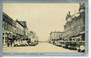 1930s CARS NAPOLEON OHIO DOWNTOWN STREET POSTCARD |