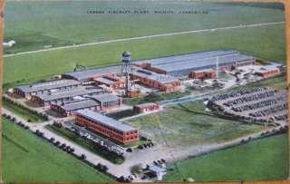 1940 Postcard Cessna Aircraft/Airplane Plant Wichita KS