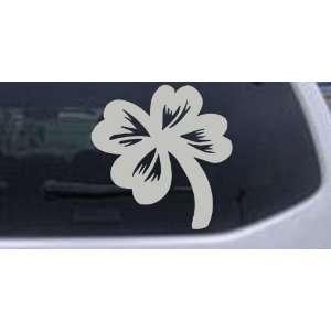 Four Leaf Clover Car Window Wall Laptop Decal Sticker    Silver 16in X