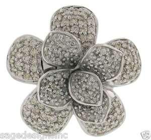 41 CT Diamond Flower Cocktail Fashion Ring 14K Gold