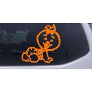 Baby Girl Crawling Car Window Wall Laptop Decal Sticker    Orange 6in