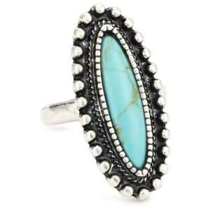 Lucky Brand Adornment Silver Tone Turquoise Color Long Stone Ring