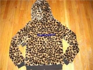 NWT VICTORIAS SECRET PINK FASHION SHOW Leopard Faux Fur Hoodie Coat