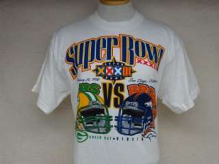 vtg SUPER BOWL XXXII t shirt BRONCOS PACKERS L