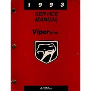 1993 Dodge Viper RT/10 Service Manual Chrysler