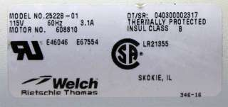 Welch Rietschie Thomas 2522B 01 Standard Duty Vacuum Pump