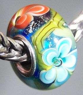 Flower Lampwork Glass Bead European Charm Bracelet 2353