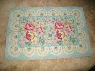 Rug, Pink Roses w/Powder Blue & Pastels, Shabby Chic, 25x37