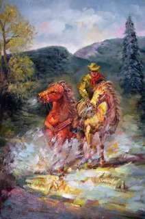 Mountain Man Cowboy Art Horses Rider Large Oil Painting