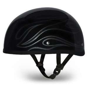 Black Flames Beanie DOT Motorcycle Skull Cap Half Helmet [2X Large