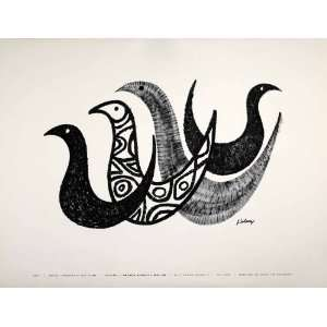 1954 Lithograph John Solarz Modern Art Abstract Birds