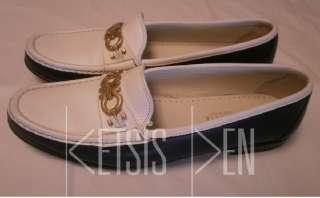 Salvatore Ferragamo Mens Blue & White Loafers Shoes *11 AA*