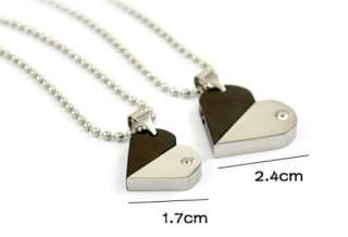 heart couple stainless steel necklace pendant W chain