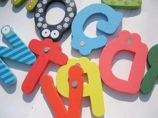 Kids Wooden Toy Teaching Alphabet Fridge Magnetic Magnet Se