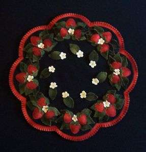 The Strawberry Patch~~Wool Penny Rug Candle Mat PATTERN