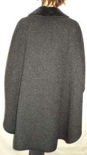 Ladies Black Wool Cape Coat Classy Well Made TRUE VINTAGE 60s One